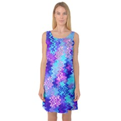 Blue and Purple Marble Waves Sleeveless Satin Nightdresses