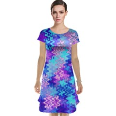 Blue And Purple Marble Waves Cap Sleeve Nightdresses