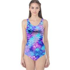 Blue and Purple Marble Waves Women s One Piece Swimsuits