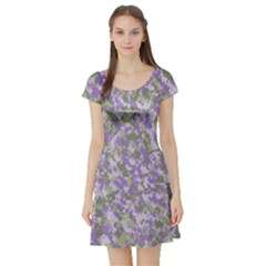 Purplebunnyflage Short Sleeve Skater Dresses