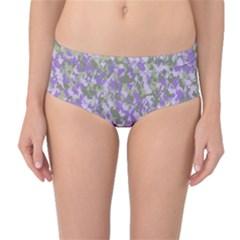 Purplebunnyflage Mid-Waist Bikini Bottoms