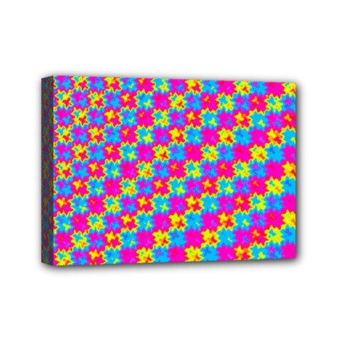 Crazy Yellow And Pink Pattern Mini Canvas 7  X 5
