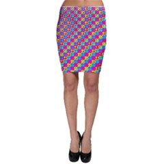 Crazy Yellow And Pink Pattern Bodycon Skirts
