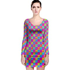 Crazy Yellow and Pink Pattern Long Sleeve Bodycon Dresses