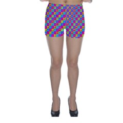 Crazy Yellow and Pink Pattern Skinny Shorts