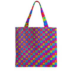 Crazy Yellow And Pink Pattern Zipper Grocery Tote Bags
