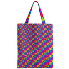 Crazy Yellow And Pink Pattern Zipper Classic Tote Bags