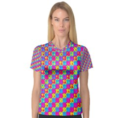Crazy Yellow and Pink Pattern Women s V-Neck Sport Mesh Tee