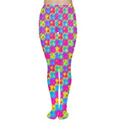 Crazy Yellow and Pink Pattern Women s Tights