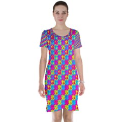 Crazy Yellow And Pink Pattern Short Sleeve Nightdresses