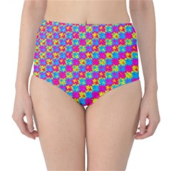 Crazy Yellow and Pink Pattern High-Waist Bikini Bottoms