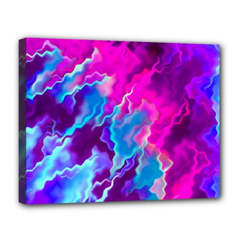 Stormy Pink Purple Teal Artwork Canvas 14  X 11