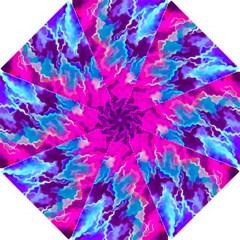 Stormy Pink Purple Teal Artwork Hook Handle Umbrellas (small)