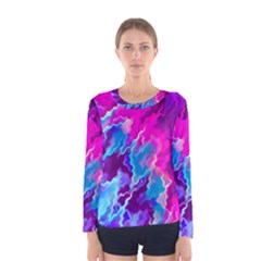 Stormy Pink Purple Teal Artwork Women s Long Sleeve T Shirts