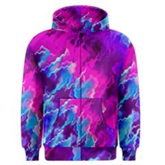 Stormy Pink Purple Teal Artwork Men s Zipper Hoodies