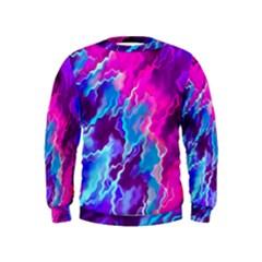 Stormy Pink Purple Teal Artwork Boys  Sweatshirts