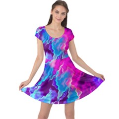Stormy Pink Purple Teal Artwork Cap Sleeve Dresses
