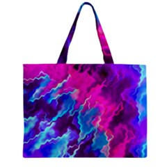 Stormy Pink Purple Teal Artwork Zipper Tiny Tote Bags