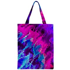Stormy Pink Purple Teal Artwork Zipper Classic Tote Bags