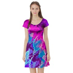 Stormy Pink Purple Teal Artwork Short Sleeve Skater Dresses