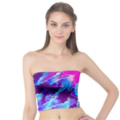 Stormy Pink Purple Teal Artwork Women s Tube Tops