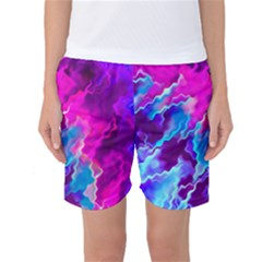 Stormy Pink Purple Teal Artwork Women s Basketball Shorts
