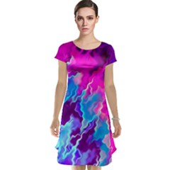Stormy Pink Purple Teal Artwork Cap Sleeve Nightdresses