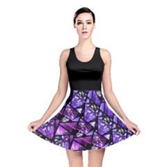 Blue purple Glass Reversible Skater Dress