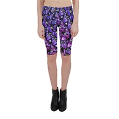 Blue purple Glass Cropped Leggings