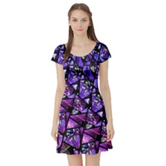 Blue purple Glass Short Sleeve Skater Dress