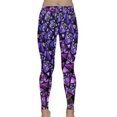 Blue Purple Shattered Glass Yoga Leggings