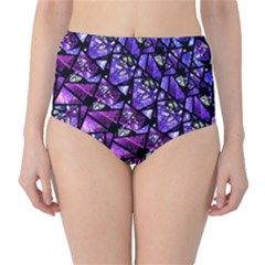 Blue Purple Shattered Glass High Waist Bikini Bottoms