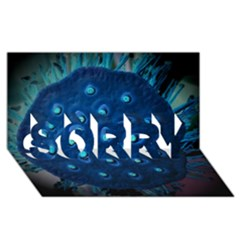 Blue Plant Sorry 3d Greeting Card (8x4)