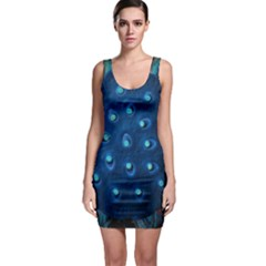 Blue Plant Bodycon Dresses