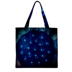 Blue Plant Zipper Grocery Tote Bags