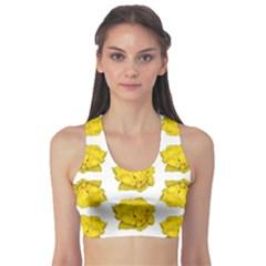 Yellow Rose Patterned Print Sports Bra