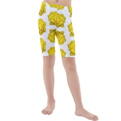 Yellow Rose Pattern Print  Kid s swimwear