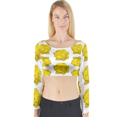 Yellow Rose Patterned Print Long Sleeve Crop Top (tight Fit)