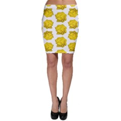 Yellow Rose Patterned Print Bodycon Skirt