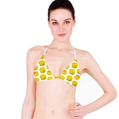 Yellow Rose Pattern Print  Bikini Tops