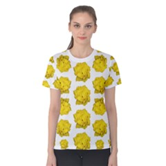 Yellow Rose Patterned Print Women s Cotton Tee
