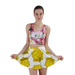 Yellow Rose Pattern Print  Mini Skirts