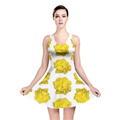 Yellow Rose Pattern Print  Reversible Skater Dresses