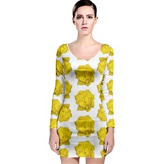 Yellow Rose Pattern Print  Long Sleeve Bodycon Dresses