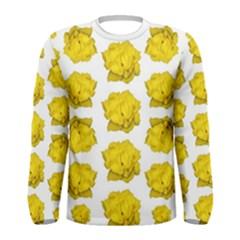 Yellow Rose Patterned Print Men s Long Sleeve T-shirt