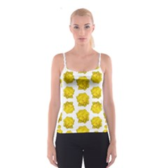 Yellow Rose Pattern Print Spaghetti Strap Top