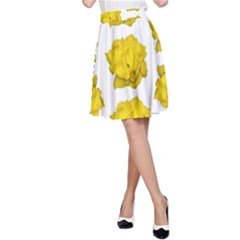 Yellow Rose Pattern Print  A-Line Skirts