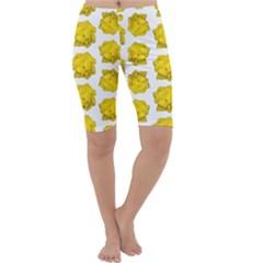 Yellow Rose Pattern Print  Cropped Leggings