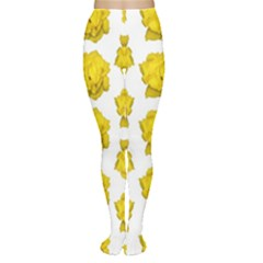 Yellow Rose Patterned Print Tights