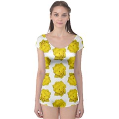 Yellow Rose Pattern Print  Short Sleeve Leotard